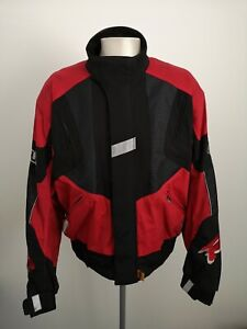 Mens-Frank-Thomas-Aqua-Red-Motorcycle-Jacket-Size-XL