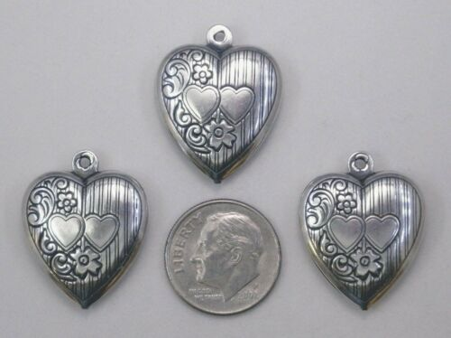 #0457 ANTIQUED SS//P 2-SIDED PUFF HEART W//TOP HANG RING 4 Pc Lot