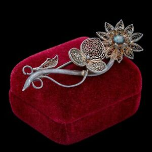 Antique-Vintage-Nouveau-925-Sterling-Silver-Filigree-Flower-Foliate-Pin-Brooch