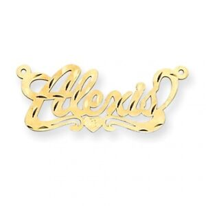 14k Yellow Gold .013 Gauge Polished Name Plate with Heart Pendant