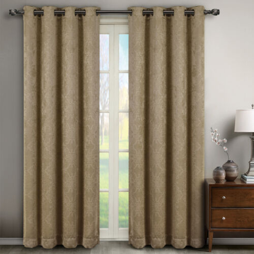 "Set of 2 Panels 104W x 108/""L Bella Blackout Weave Embossed Grommet Curtain"