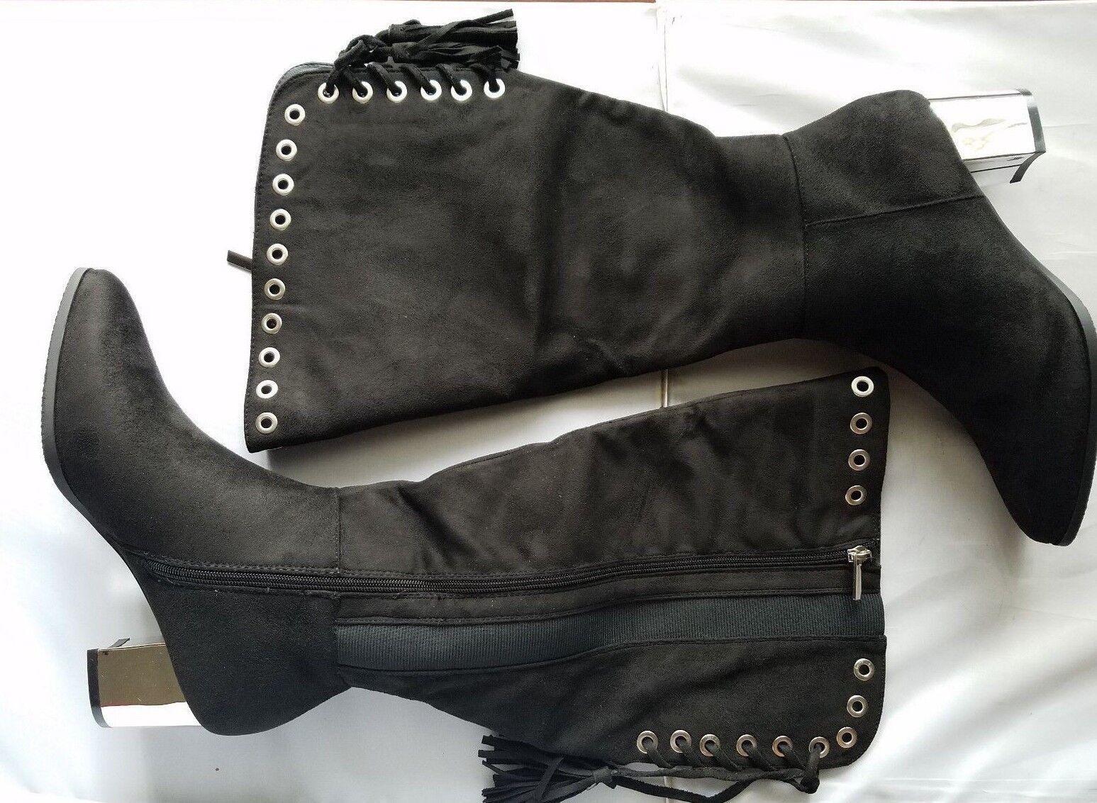 NEW Cloudwalkers Corbin Women's Boots Suede Black Grommets Knee High 7 / 8 / 9 W