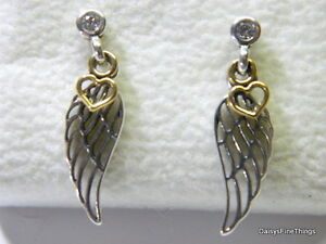pandora wing earrings authentic pandora earrings 2 tone guidance dangles 1676