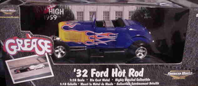 1932 Ford Hot Rod GREASE movie BLUE 1:18 Ertl American Muscle 33119