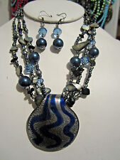 Multi Grey Mix Bead Silver Navy Blue Murano Glass Pendant Necklace Earring Set