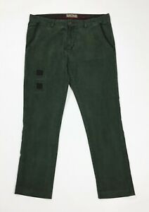 Marville-pantalone-velluto-a-coste-uomo-usato-W38-tg-52-verde-slim-moda-T4725