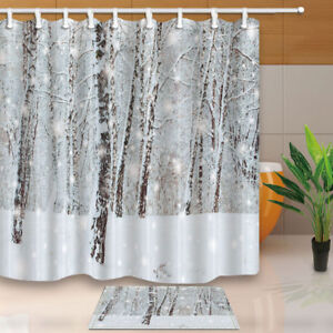Image Is Loading Winter Christmas Forest Tree Shower Curtain Bathroom Fabric