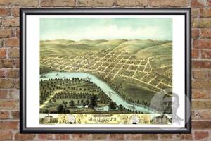 Historic Minnesota Art MN Map 1870 Old Victorian Industrial Vintage Mankato