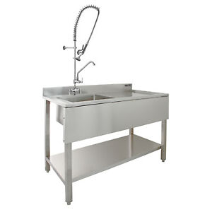 Commercial Sink Catering Kitchen Rh Drainer 1 0 Bowl Amp Pre