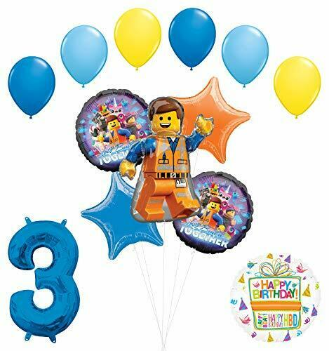LEGO Movie Party Supplies 3rd Birthday Balloon Bouquet Decorations