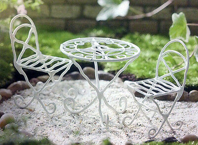 Miniature Fairy Garden Bistro Set White Table and Chair set Dollhouse Miniature