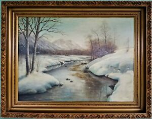 Vintage Signed Oil Painting Landscape Snow Scene Mountains on Artist Board 36X28