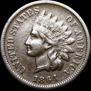 1864-L-Initial-L-Indian-Head-Cent-Penny-NICE-C934