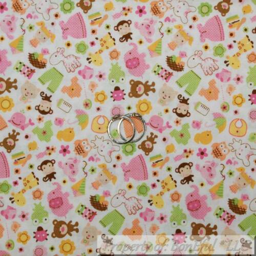 BonEful FABRIC FQ Cotton Quilt White Pink Baby Girl Doll Nursery Owl Dot Animal