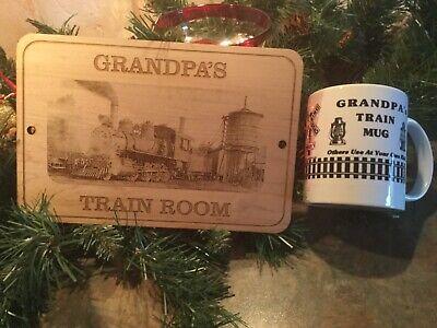 """PERSONALIZED /""""GRANDPA/'S TRAIN ROOM/""""  WOODEN SIGN for GRANDPA"""