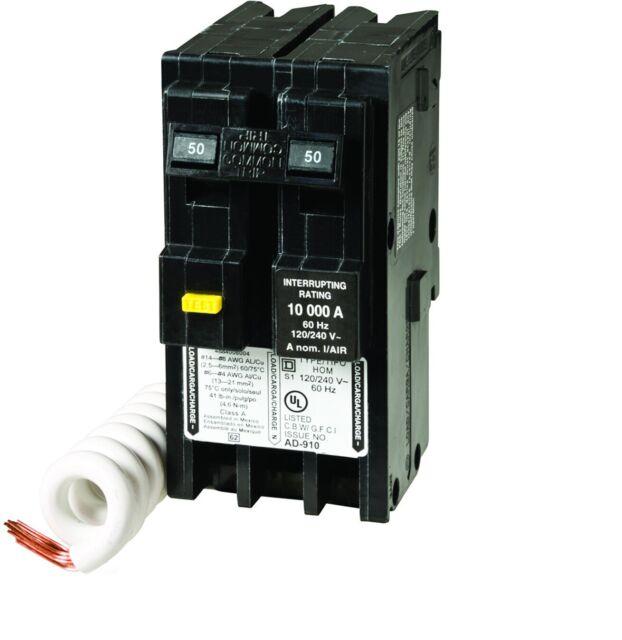 Square D Homeline Hom250gfic 50 Amp 2 Pole Gfci Circuit Breaker