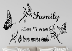 Family Butterfly Vine Living Room Home Decoration Wall Vinyl Decal Sticker V224