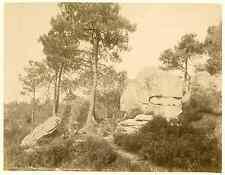 France, Forêt de Fontainebleau. Rochers du Mont Ussy  Vintage albumen print.