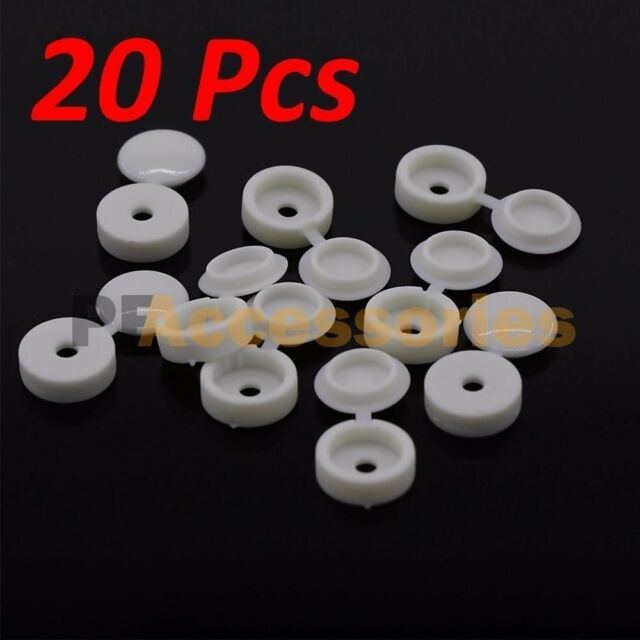 Fold Snap Caps 20 Pcs Hinged Plastic Screw Covers White