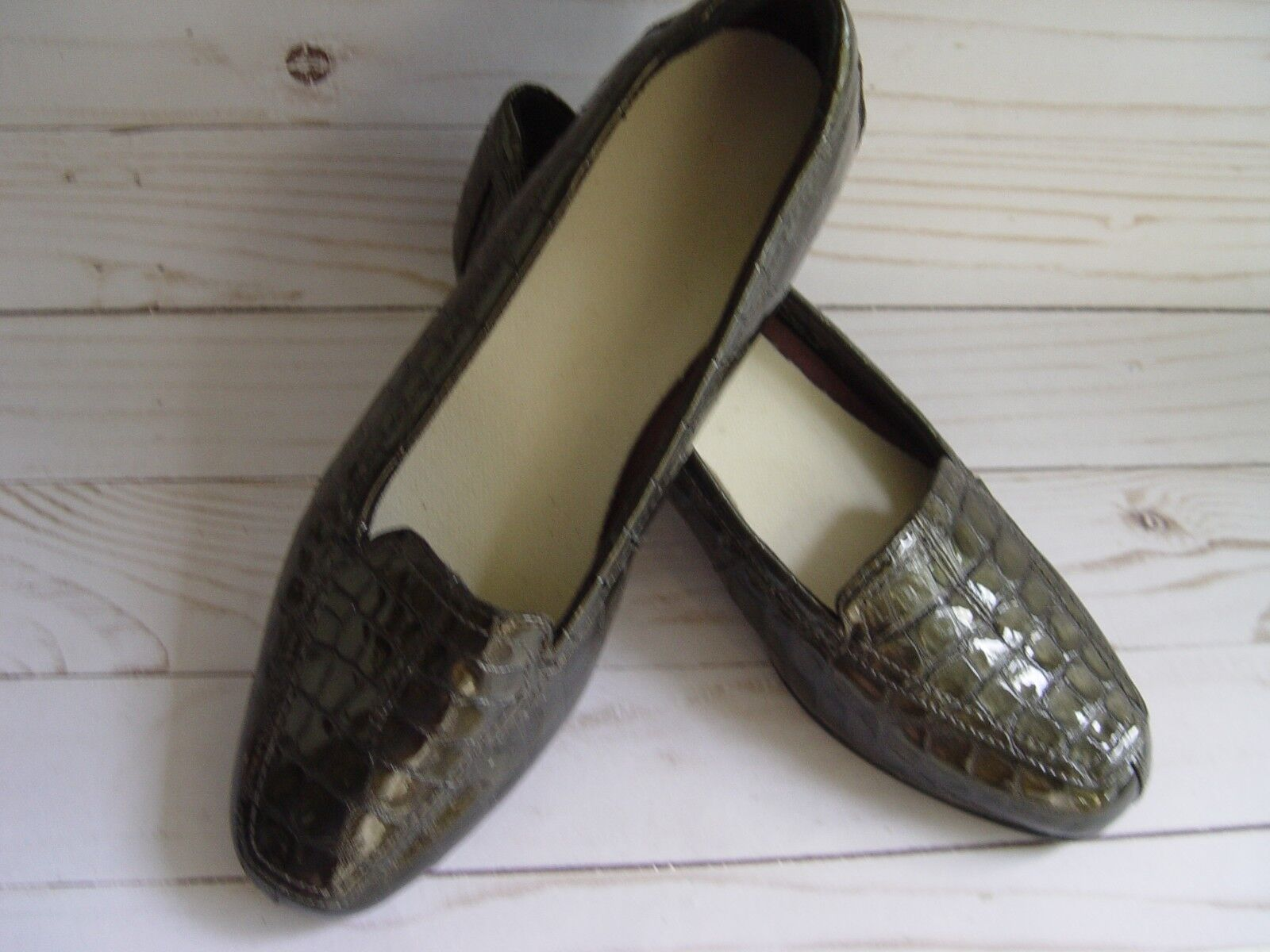 CLARK LOAFER 7M dark metallic green genuine patent leather leather leather excellent + cond 3badb7