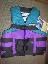 """SEA DOO Jet Boat Life Vest Ski Vest PFD Adult S/M 32'-40"""" Purple & Teal New OEM"""