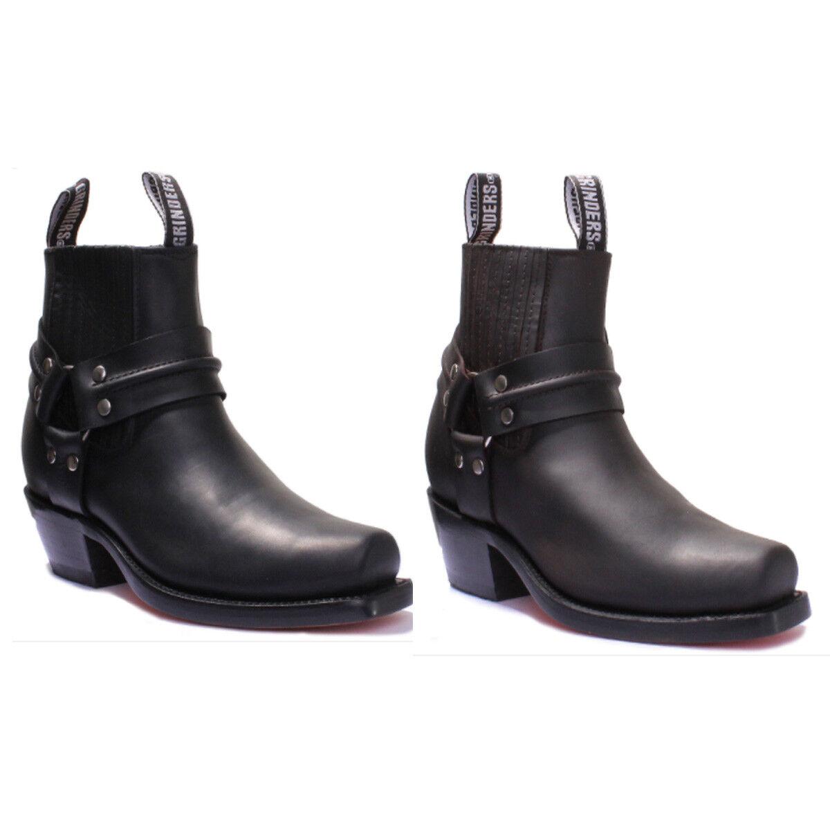 Grinders Harness Lo Unisex Leather Cowboy Biker Ankle Stiefel UK Größe 3 - 12