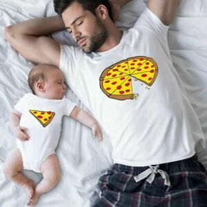 Family Matching Clothes Outfit Father Mother Daughter Son Pizza T-Shirt Family