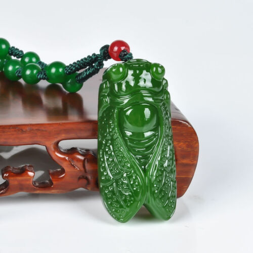 New handcarved 100/% Natural Nephrite Green Jade Cicada pendant necklace