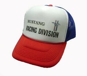 9cdeda6a95c Mustang Racing Division trucker hat mesh hat red white blue new Snap ...