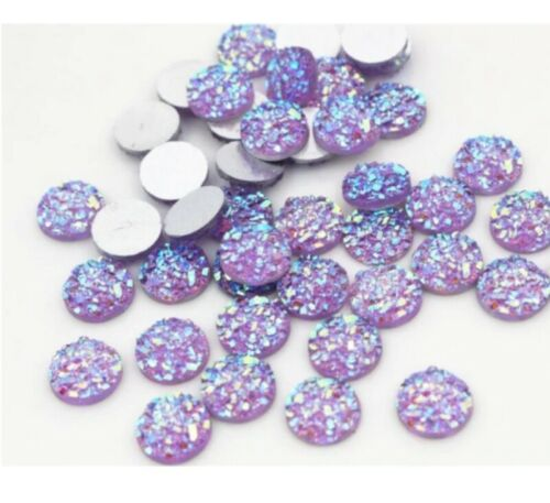 40pcs 8mm 10mm Charm Round Druzy Cabochon Flatback Earring Jewelry Making DIY