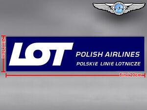 LOT POLISH AIRLINES POLSKIE LINIE LOTNICZE LOGO RECTANGULAR DECAL / STICKER