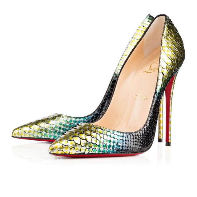 4bf0e5935cd Christian Louboutin so Kate 120 Python Aquarium HEELS PUMPS Shoes Size 37.5