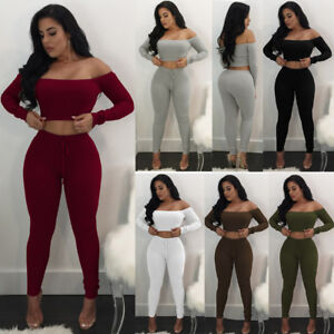 4f5b2e91e923ce Image is loading Women-2Piece-Outfits-Long-Sleeve-Off-Shoulder-Crop-