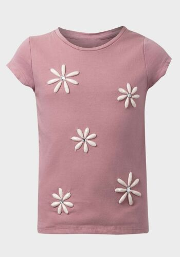 **NEW** EX CHAIN STORE GIRLS BLUSH PINK DAISY BEADED TOP AGES 5 TO 8 YEARS