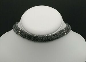 Genuine-Gray-Jade-Choker-Necklace-Adjustable-Solid-Sterling-Silver-with-Earrings