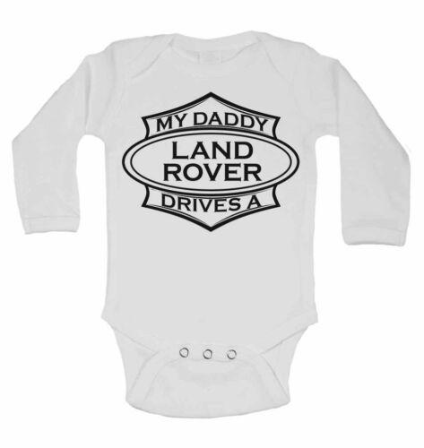 Mon papa disques un Landrover personnalisé manches longues bébé gilets bodysuits Unisexe