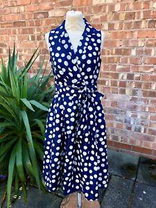 Jessica Howard Blue Spotty Dotty Fit & Flare Dress, UK size 10