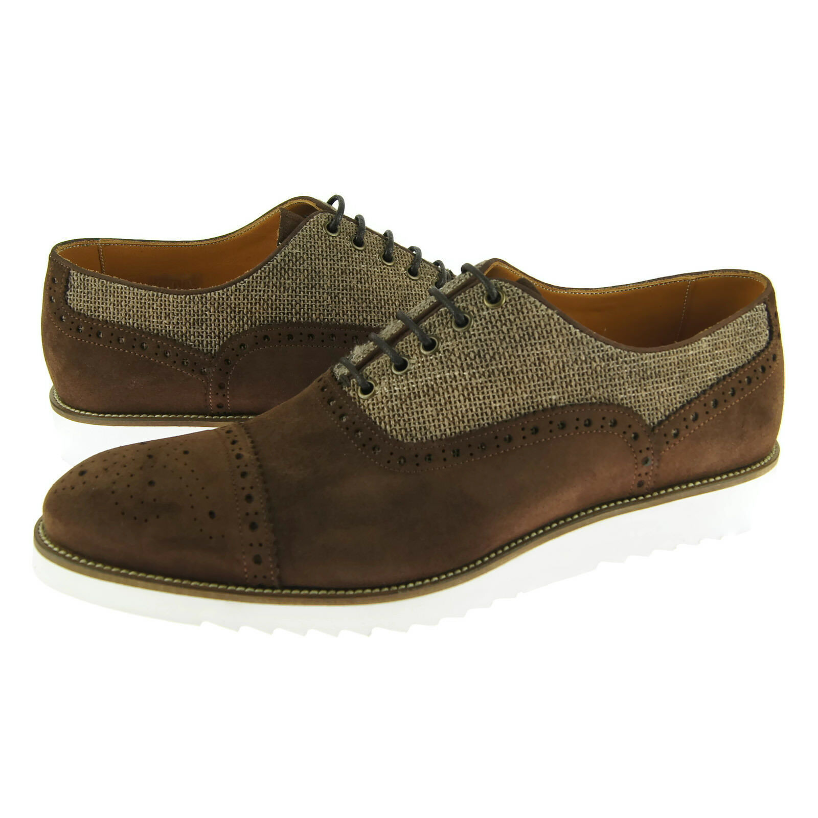 Alex D  Hampton  Brogue Oxford, Men's Dress Casual shoes, Brown Suede