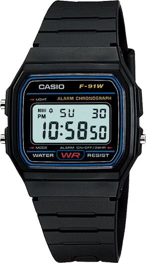 Casio F-91W Original Alarm Chronograph Digital Retro Uhr Neu F-91 F91