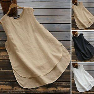 ZANZEA-8-24-Women-Crewneck-Sleeveless-Plus-Size-Top-Tee-T-Shirt-Cotton-Blouse