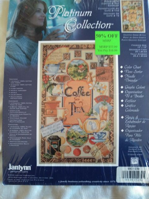 Janlynn Platinum Collection Coffee & Tea counted cross stitch kit Nancy Rossi se