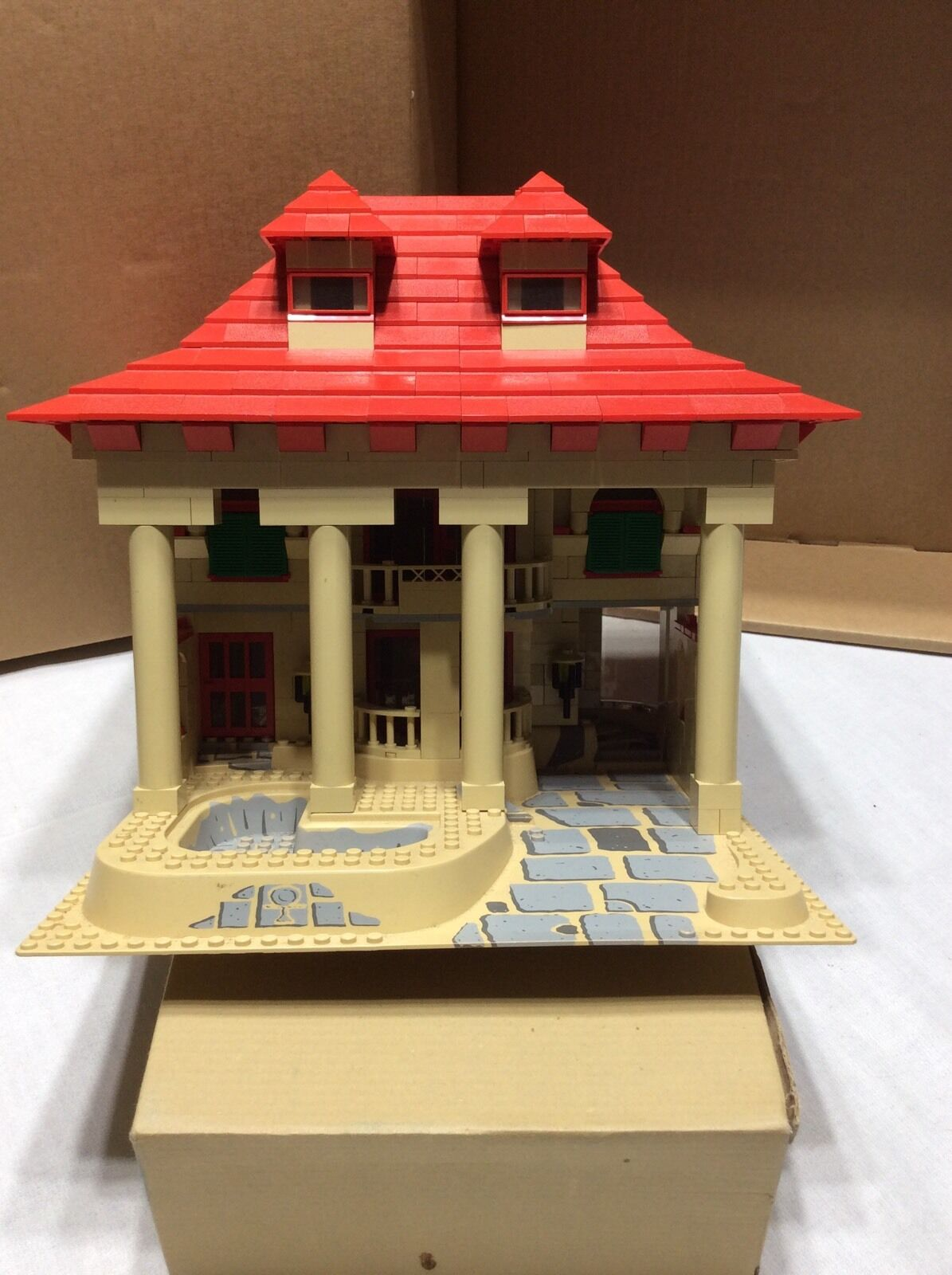 Lego custom made MOC Large Tan House pool rosso roof 4lb Many pieces used Lego