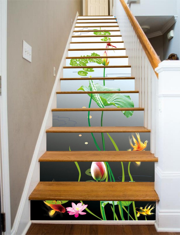 3D River Lotus Stair Risers Decoration Photo Mural Vinyl Decal Wallpaper CA