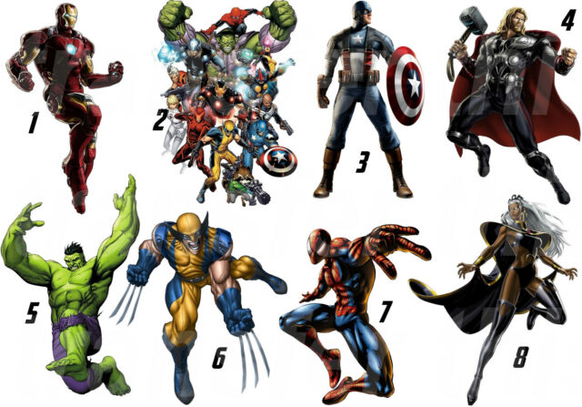 STICKER WALL DECO OR IRON TRANSFER MARVEL AVENGERS HULK CPT AMERICA IRONMAN LOT