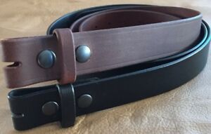 "1-1/2"" PLAIN BUFFALO LEATHER CASUAL STRAP WORK BELT AMISH HANDMADE 1.5""NO BUCKLE"