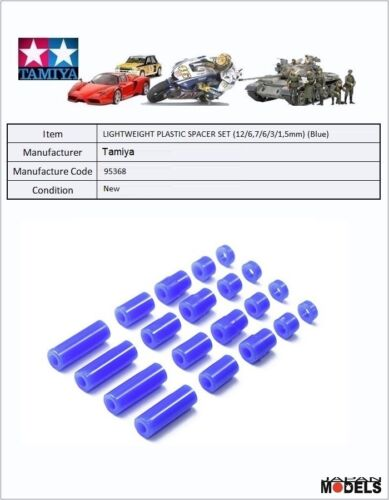 Mini 4wd LIGHTWEIGHT PLASTIC SPACER SET (12/6,7/6/3/1,5mm) (Blue) Tamiya 95368