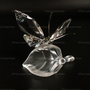 RARE-Retired-Swarovski-Crystal-Butterfly-on-a-Leaf-182920-Mint-Boxed