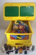 Lego Duplo Yellow Bus Ride On Storage Bin Bricks Block Animals Figures Lot 300 +