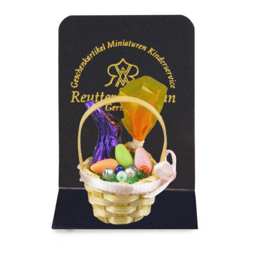 Reutter porzellan panier rempli d/'oeufs Easter basket poupée 1:12 Dollhouse art 1.965//0