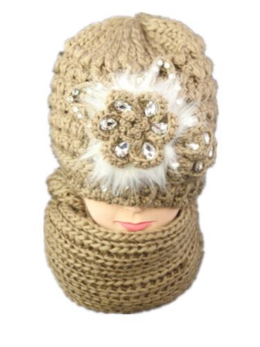 Women Ladies Knitted Woollen Wooly Beanie Hat and Scarf Set Warm Flower Diamond